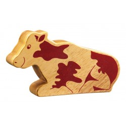 Vache assise bois massif