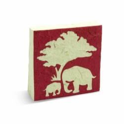 Mama en baby olifanten notitieboekje in rood