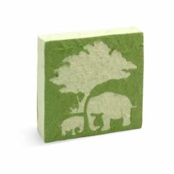 Mama en baby olifanten notitieboekje in groen