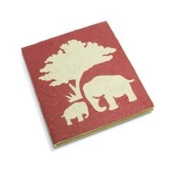 Cahier journal Maman et bébé éléphant bordeaux