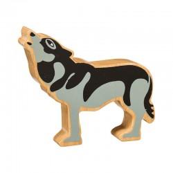 Loup hurlant bois massif peint
