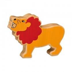 Lion rugissant bois massif peint