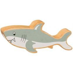 Requin en bois massif peint