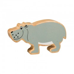 Hippopotame bois massif peint
