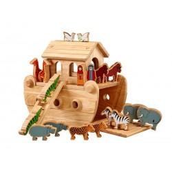 Petite arche de Noé bois naturel animaux peints