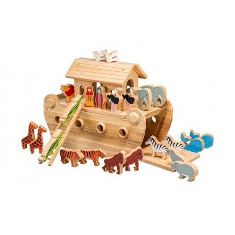Grande arche de Noé bois naturel animaux peints