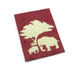 Carte de voeux maman & bébé éléphant Bordeaux