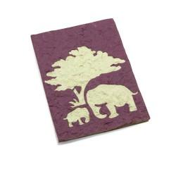 Carte maman & bébé éléphant Mauve
