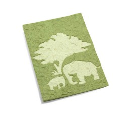 Carte maman & bébé éléphant Vert