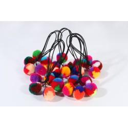 Elastiques petit à pompons, noirs & pompons multicolores