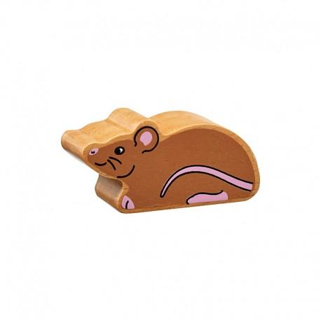 souris en bois naturel peint