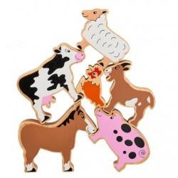 Assortiment van 6 hardhout boerderijdieren geschilderd