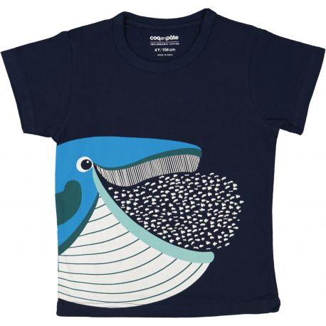 T-shirt enfant manches courtes Baleine bleue