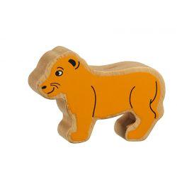 Lionceau bois naturel peint