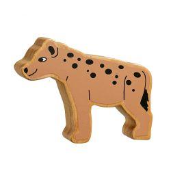 Hyène bois naturel peint