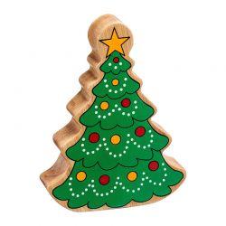 Arbre de Noël en bois naturel peint