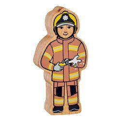 Pompier en bois naturel peint