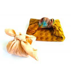 Furoshiki in gerecycleerde sari (dubbellaagse sari) 50 cm