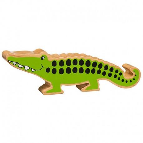 Crocodile bois massif peint