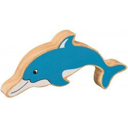 Dolfijn massief hout, geschilderd