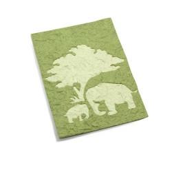 Carte de voeux maman & bébé éléphant Vert