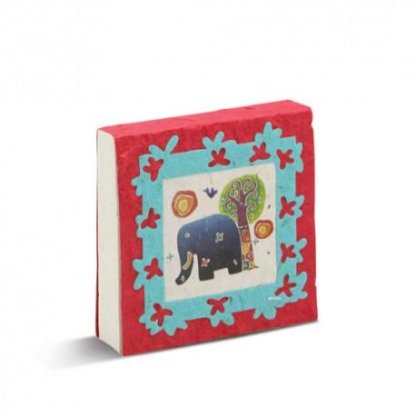 Mama en baby olifanten bloknoot in rood