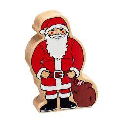 Père Noël en bois naturel peint