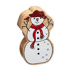 Bonhomme de neige en bois naturel peint