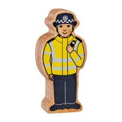 Policière en bois naturel peint