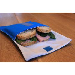Herbruikbare foodwrap voor lunch in katoen 18 cm + rPET, sluit met velcro