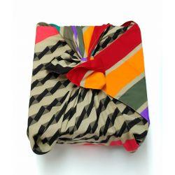Furoshiki in gerecycleerde sari (cadeauverpakking) 100 cm